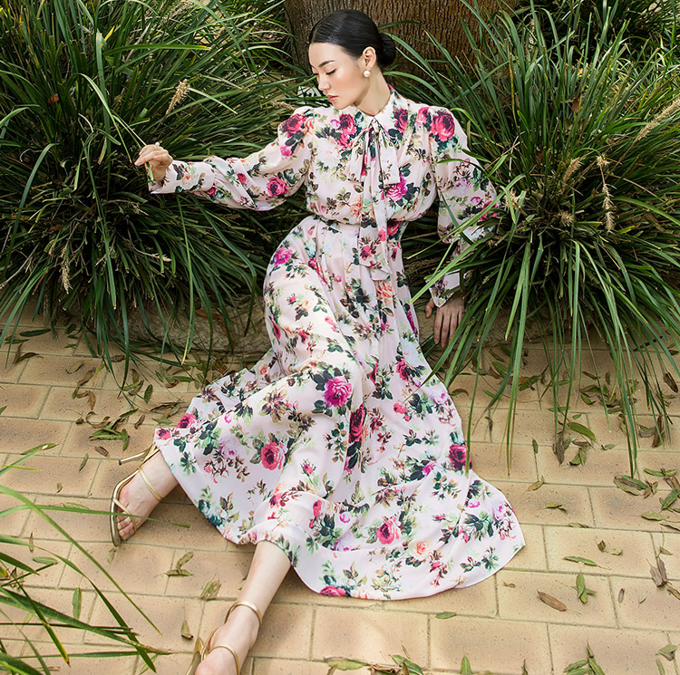 D9068罗莎珍珠纽扣花连身裙(领巾套装)(8阶再订购)