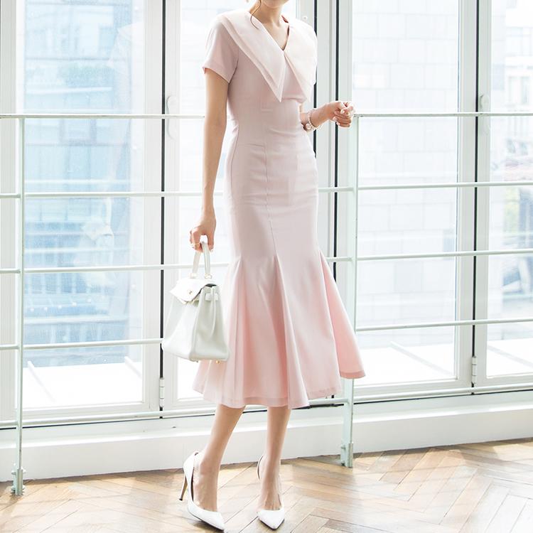 D3870 雪纺双层领连身裙* L size production * (9th REORDER)
