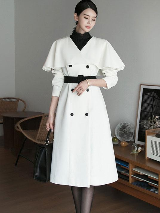 D3988 披肩连身裙(腰带组合)