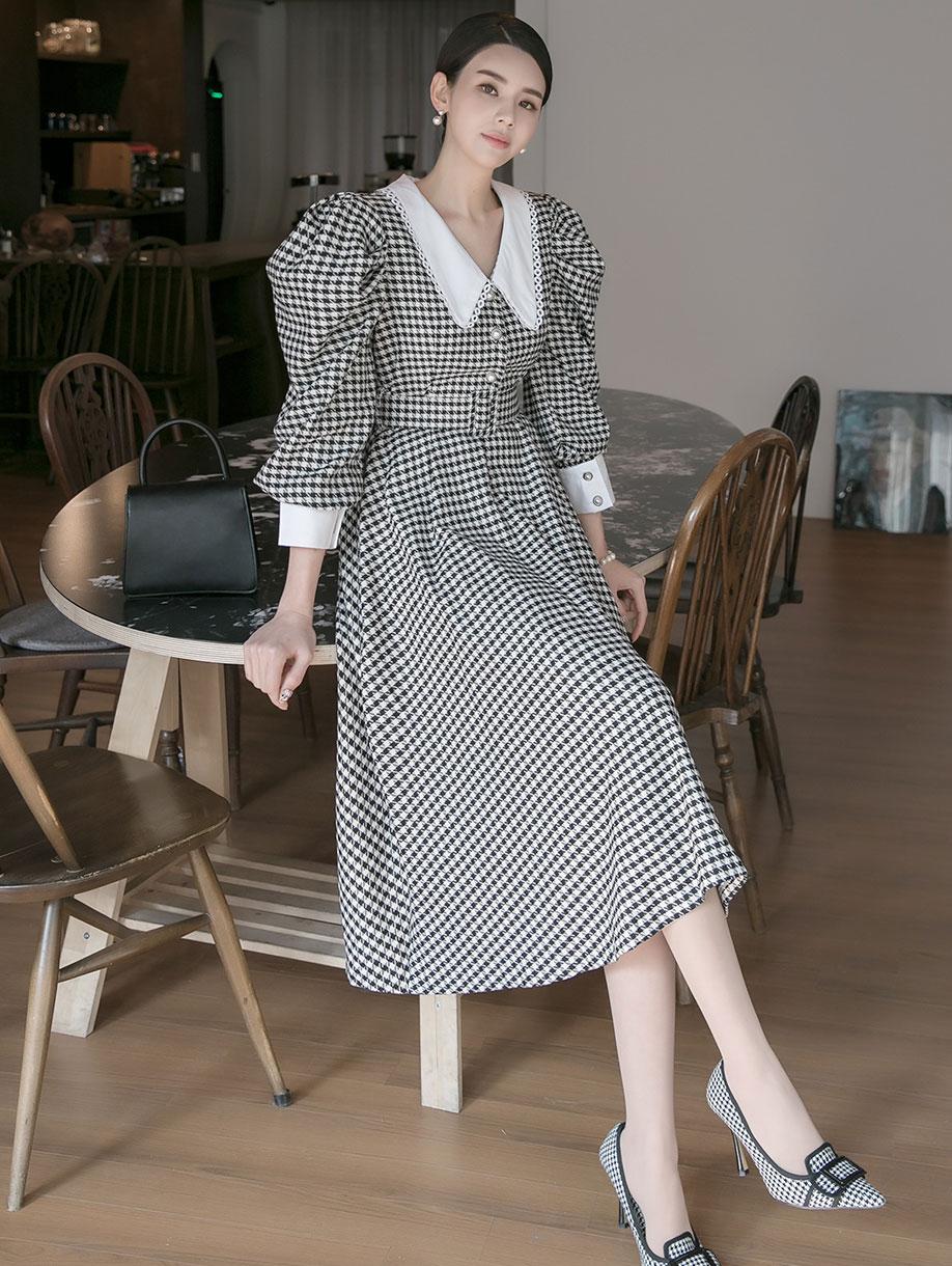 D3986  大领千鸟格纹连身裙 (腰带组合)