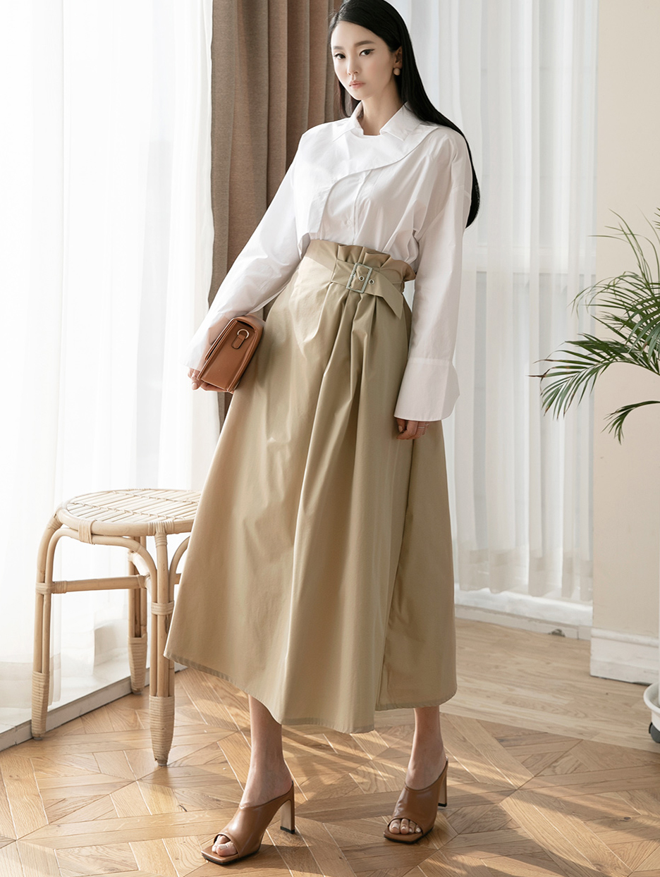 SK2031 斜纹腰带裙
