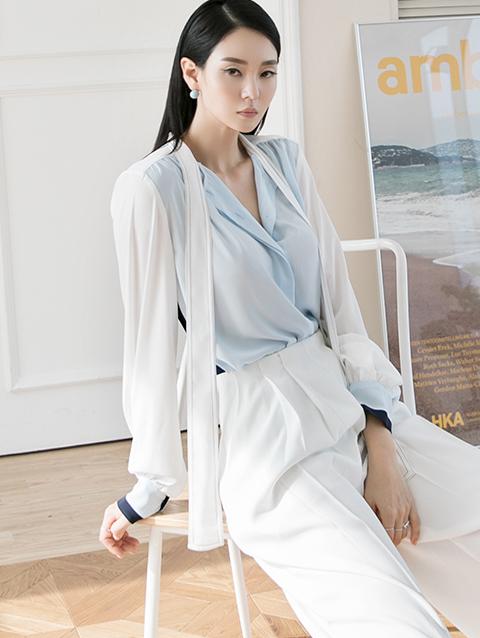 B2550 配色领巾雪纺纱