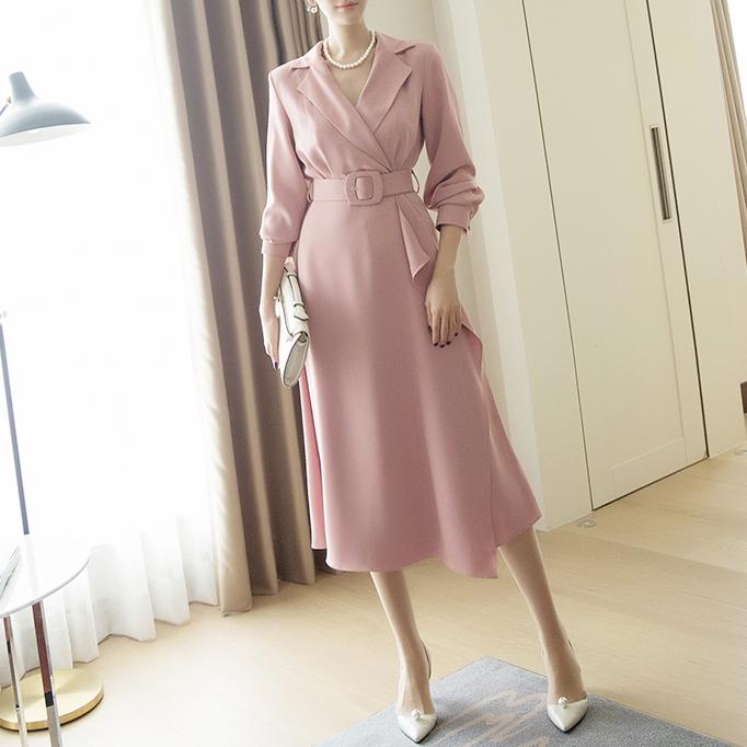 D3920 女人味有领连身裙 (腰带组合)(6再进货)
