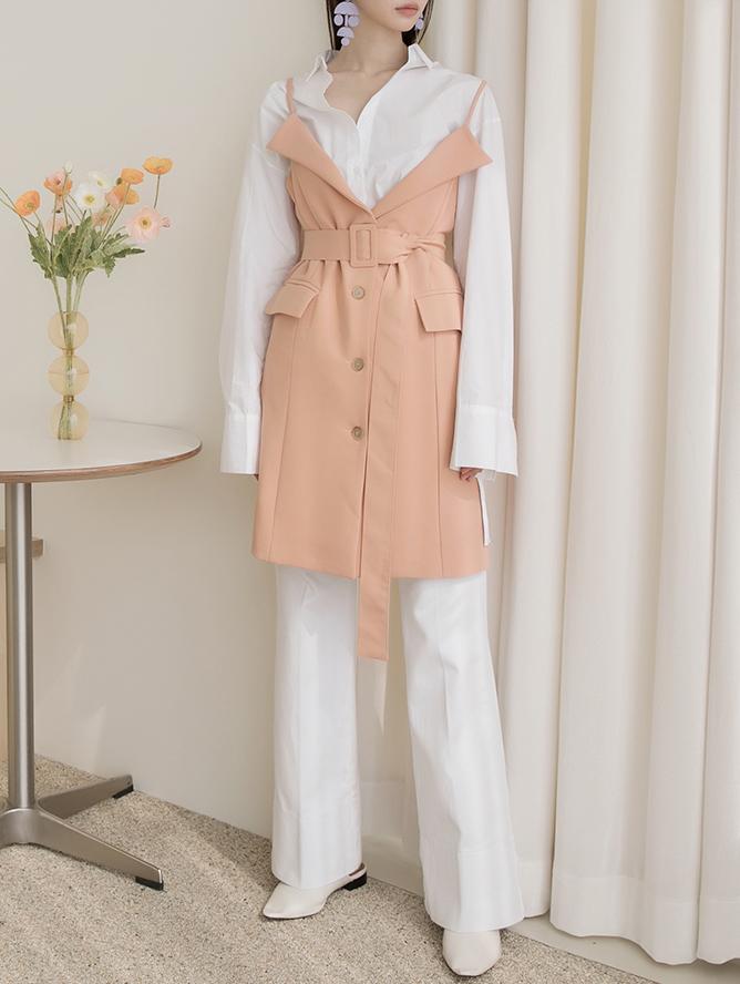 D3992 叠层短版连身裙 (腰带组合)