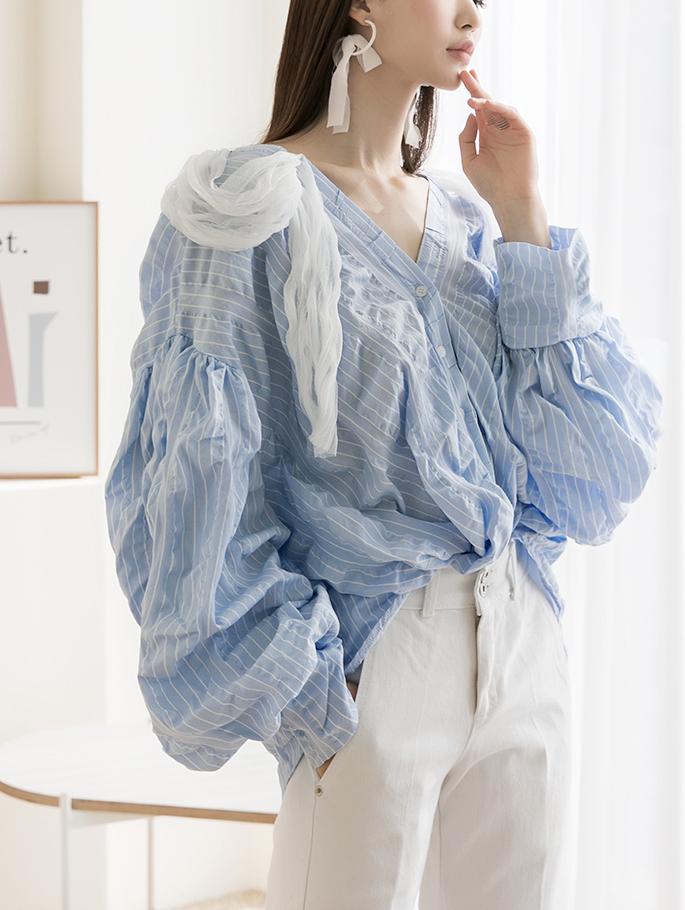 S367 蕾丝重点皱褶衬衫