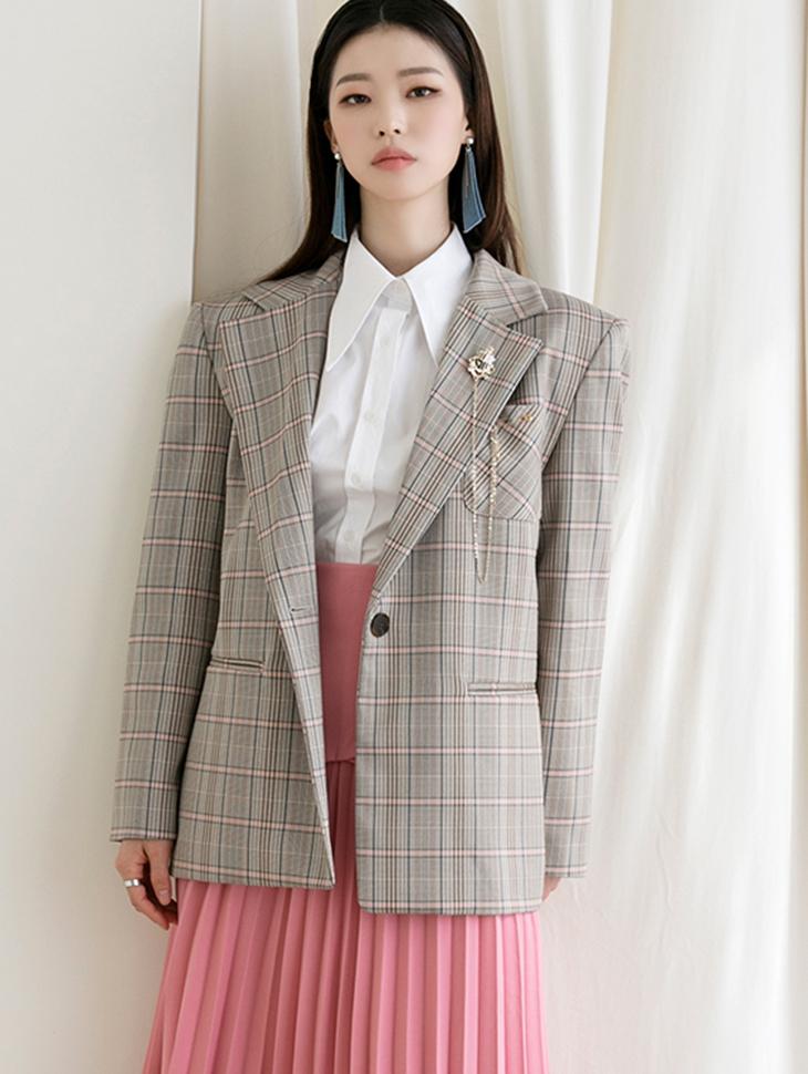 J936 格纹宽松夹克 (别针组合)