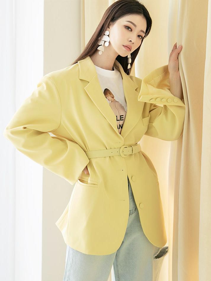 J953 柔和色宽裕夹克 (腰带组合)