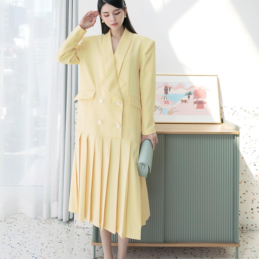 D9143 双扣百页连身裙