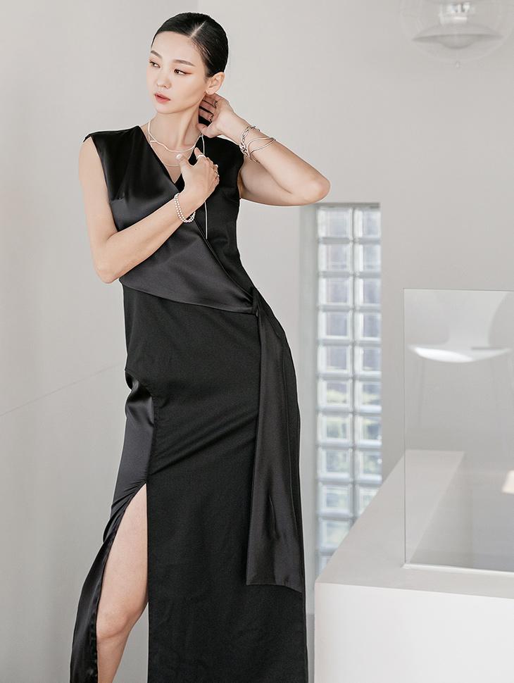 D9030 长版配色连身裙