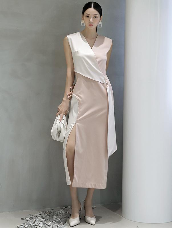 D9030 叶子 长版 配色 连身裙