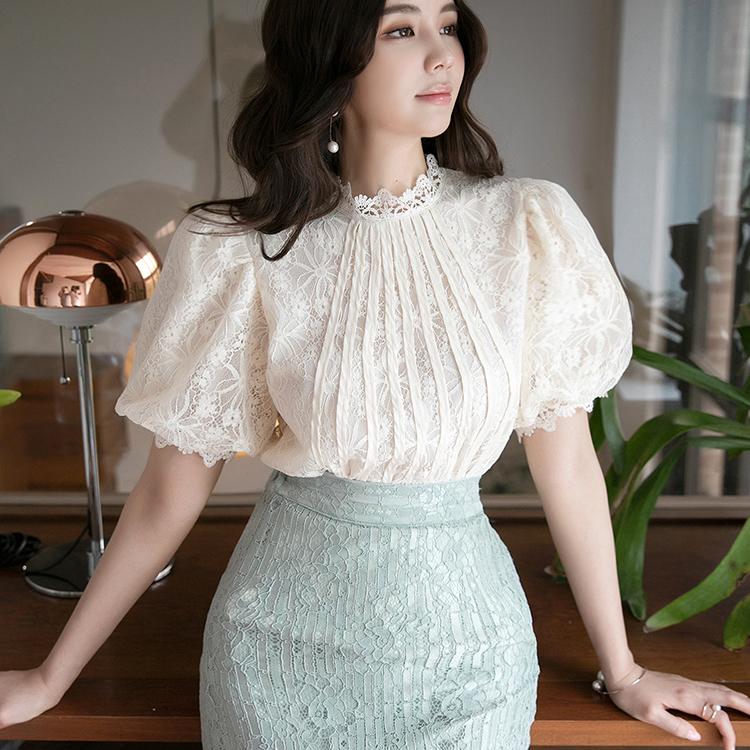 B2586 蕾丝宽袖袖雪纺纱