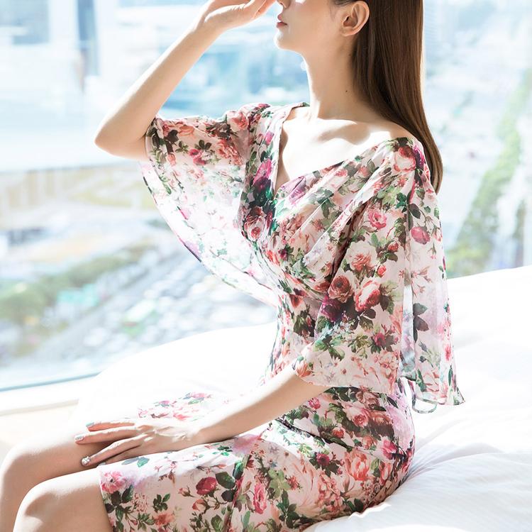 D9089 花朵雪纺连身裙 (第18次进货)