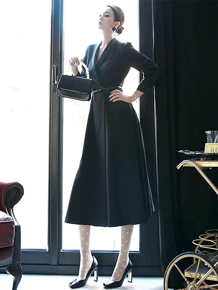 D3396 披巾领连身裙 (腰带组合) *L尺码制作* (第106次进货)