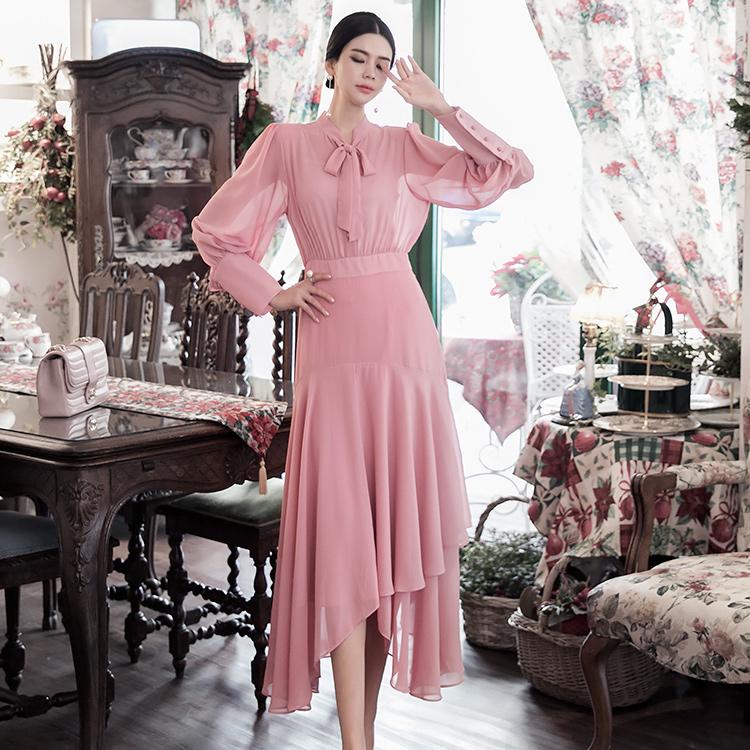 D3960 雪纺长版连身裙 (内搭组合)