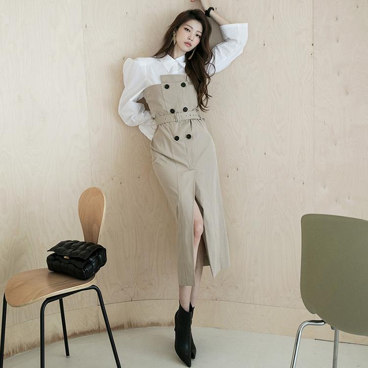 D4103 岔风衣上衣连身裙(腰带组合)