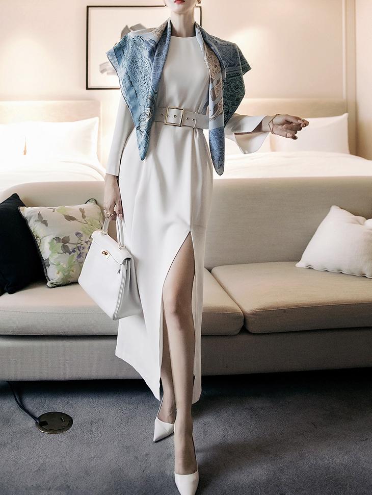 D4105 长版岔垫肩连身裙(腰带组合)