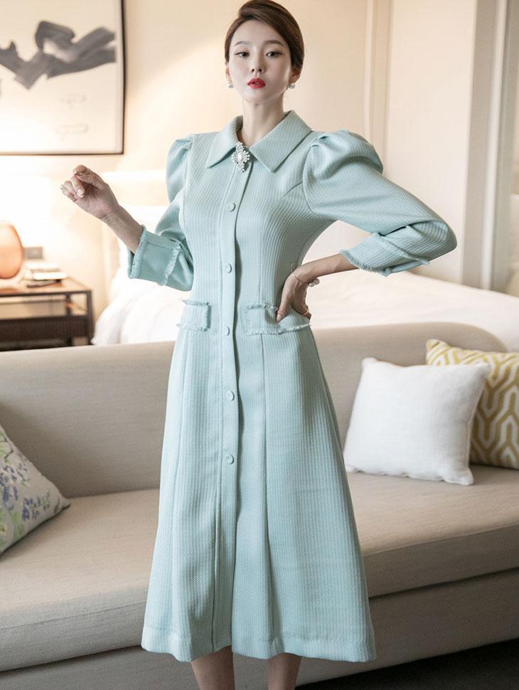 D4109  斜纹软呢宽袖连身裙