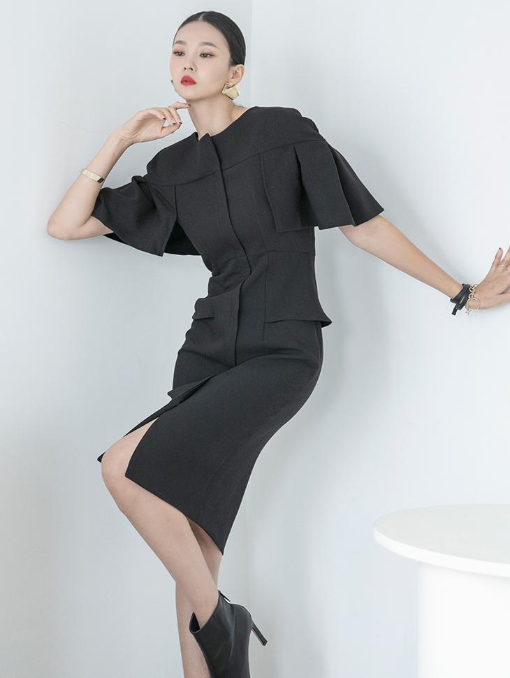 D4101 领子岔披肩连身裙*BLACK/L尺码制作*