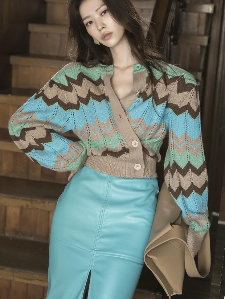 J1049 配色图纹羊毛针织外套*前后可以穿着,能用上衣着用*