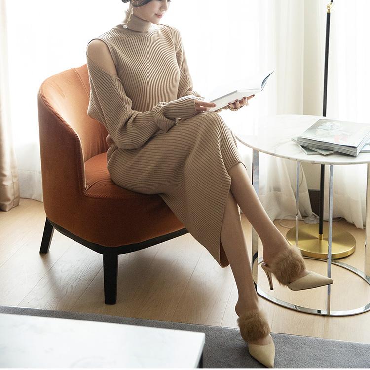 D3922 简约针织连身裙 (针织外套组合)