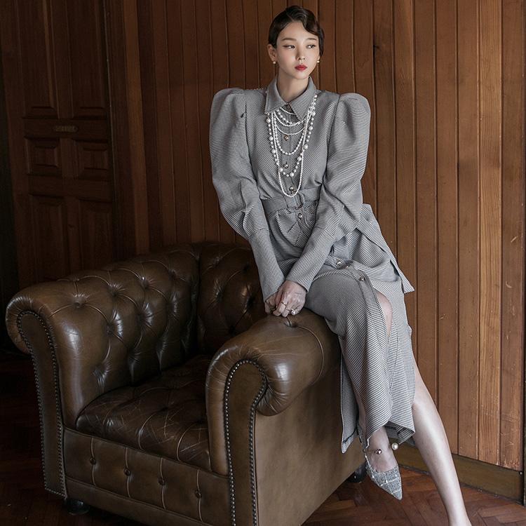 D4117 皱褶 格纹 垫肩 连身裙(腰带组合)