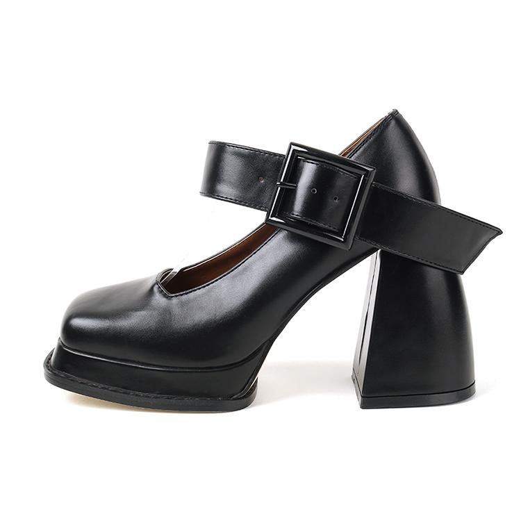 AR-2831 方形扣环高跟鞋女式无带轻便鞋